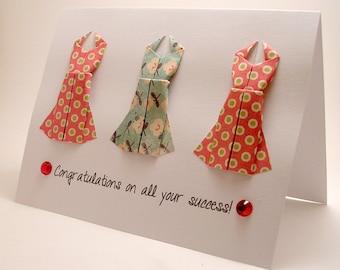 Origami Dress Congratulatory card (Red Blue)
