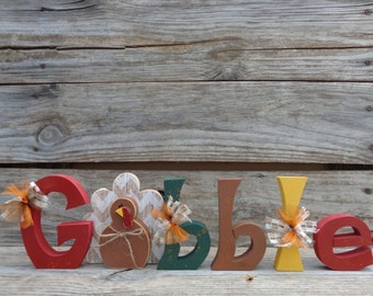 Thanksgiving Decor- Fall Decor- Turkey Decor- Turkey Decorations- Gobble with Turkey Letter Set