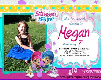 Shimmer and Shine Birthday Invitation with Picture, Shimmer and Shine Custom Birthday Invitation, Shimmer and Shine Cute Birthday Invitation