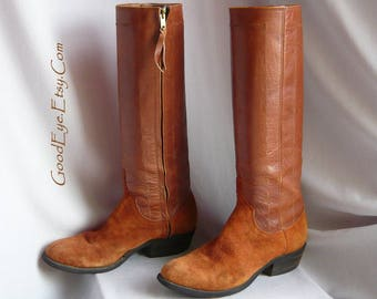 Vintage Suede n Leather BIKER Boots / Size 8 M Eu 38 .5 UK 5 .5 / Rust Brown SKINNY Calves / Western Knee Boot Bohemian Trend