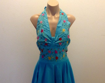 Vintage Embroidered Mexican Halter Dress Boho Hippie