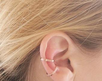 Tribal Ear Cuff, copper ear cuff, textured copper earring, set of 3 cuff earrings