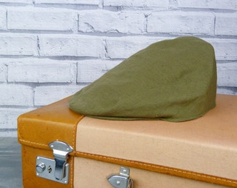 Mens Flat cap - Olive Irish Linen