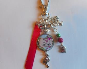 """Bag charm, door keys/MOM / """"I love MOM"""" / Wonderland fine gift/mother of the year faby/party / thanks/Christmas/birthday"""