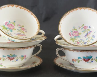 Lot of 4 Cream Soup & Stands from COALPORT in the PEMBROKE Pattern