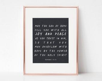 Romans 15:13 | Bible Verse Print | Printable | Christian Wall Art | Black and white print | Handwritten Font