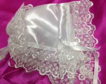 Baby Magic Bonnet Turns into Wedding handkerchief for wedding day Satin with Wide Venice Lace