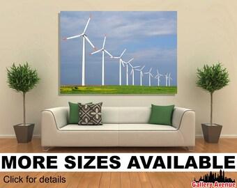 Wall Art Giclee Canvas Picture Print Gallery Wrap Ready to Hang Wind Turbine Windfarm 60x40 48x32 36x24 24x16 18x12 3.2