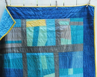 Organic Improv Quilt, Fiber Art Quilt, Hand Dyed Blue Sky Backing, Organic Throw Quilt