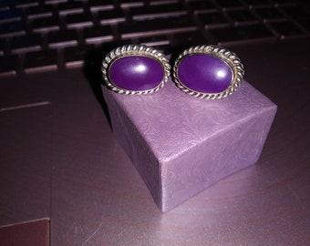 Vintage Mexican Post Earrings. Purple Sugilite. Sterling Silver.