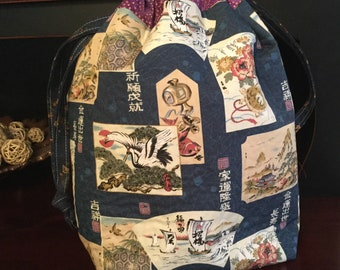 Larger Drawstring Project Bag, Asian print, sweater or large project