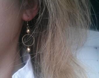Minimalist dangle earrings Boho dangle earrings Antique brass Circle earrings bohemian Beaded hoop earrings Delicate earrings Boho jewelry