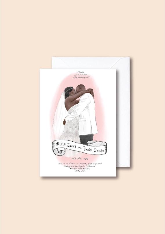 Personalised Wedding Invitations - Custom Illustration - Personalised Words