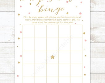 pink gold twinkle star baby shower bingo game card printable DIY pink and gold glitter baby shower games - INSTANT DOWNLOAD