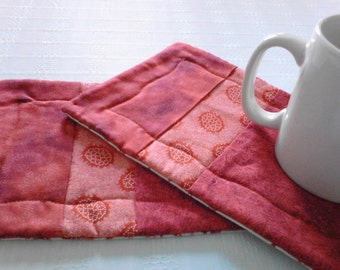 Quilted Mug Mat Mug Rug in Red Fabrics Set Of Two
