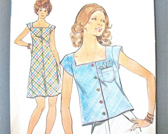 Uncut 70s Butterick 4274 Misses' Dress & Top. Loose-fitting, bias dress Vintage Sewing Pattern  Bust 31.5 inches