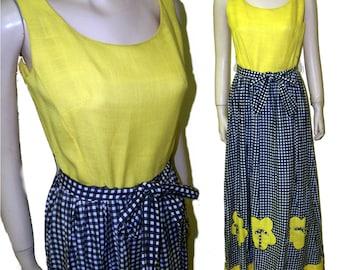 70s Maxi sun dress yellow black linen size B36 modern 8 bumblebee
