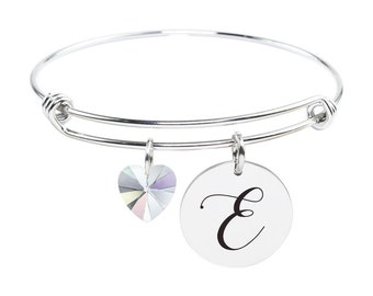 Initial Bangle made with Crystals from Swarovski - E - SWABANGLE-GLD-AB-E - Silver