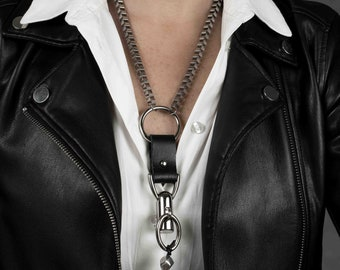 Leather Jewelry, Statement Jewelry, Statement Necklace, Unique Necklace, Handmade Jewelry, Strong Jewelry, Edgy Jewelry, NC-1046
