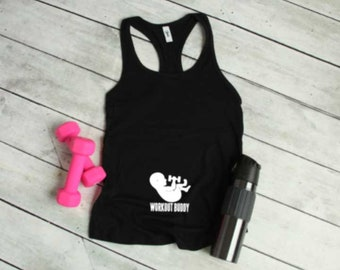 Workout buddy Pregnancy announcement tank top Pregnancy shirt Pregnant tank Pregnant workout Tank Top Pregnancy announcement shirt New mom