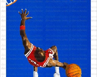 Photo print from an original painting of the NBA, Chicago Bulls, Michael Jordan.