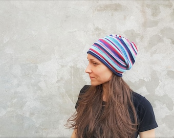 Mens beanie striped beanie knit beanie hat Slouch beanie Mens city beanie Mens hat Boyfriend beanie Teenager beanie Holiday gift Blue Red