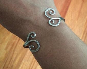 Scroll cuff bracelet, handmade , sterling silver