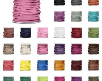5M Roll Faux Suede Cord 3mmx1.5mm DIY Jewelry Making Thread String Bracelet Necklace Beading Supplies, 30 Colors, V-TC0138
