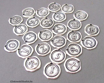 Add on initial wax seal charm, personalized antique silver wax seal letter charm