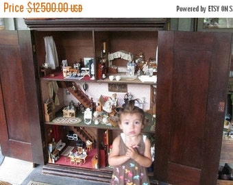 SALE 1860s Antique Dollhouse with Contents Grannies Secret Cupboard  WHAT IS Inside Dollhouse Furniture Antique Pie Cupboard Victorian dolls