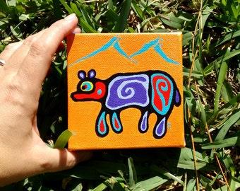 mini painting  4 x 4 canvas Bear