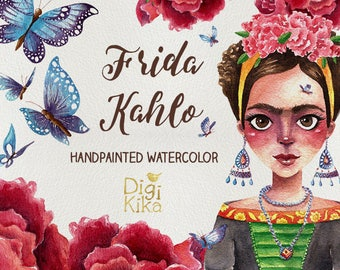Frida Clipart, Hand Painted Watercolor Clip Art, Frida Wartercolor Clipart, Frida Graphics, Butterfly, Roses, Planner Supplies, Hand Draw