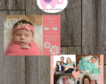 Birth Announcement, Coral Birth Announcement, Girl Baby Announcement, Coral Mint Birth Announcement, picture birth Announcement