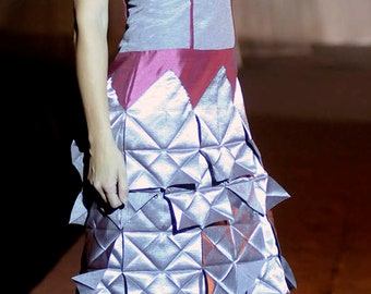 Exclusive dress made in Shangtun-folded skirt-turtleneck-grey and fuchsia