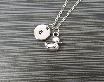 Silver Rubber Duck Necklace - Ducky Charm Pendant - Personalized Necklace - Custom Initial Necklace - Personalized Gift - Bird Jewelry