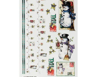 Rub-ons Snowman Tags / Christmas / cardmaking, scrapbooking and tags
