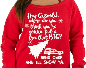 White Tree - Ugly Tacky Christmas Sweater - Griswold Christmas Vacation Sweatshirt , Ugly Christmas Sweaters , Red Off Shoulder Sweatshirt