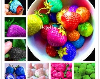 300pcs/bag rainbow strawberry seeds,giant strawberry,rare bonsai organic fruit seeds,9 colours,strawberry plants for home garden