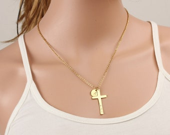 Personalized Cross Necklace - Initials Disc Necklace - Engraved Disc Necklace - Nameplate Necklace - Anniversary, Chirstmas,Wedding Gift