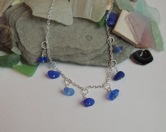 Authentic Cobalt Blue and Coranflower Blue Sea Glass Dangle Necklace on a Silver Plated Chain