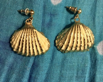 Gold Trimmed White Scalloped Shell Earrings