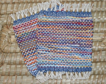 Sunset Handwoven Coasters - Set of 2 Eco Friendly Mug Rugs - Woven Coasters in Sunset Colors of Blue, Orange, Yellow, Red