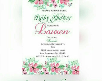 Floral pink and green, Baby shower invitations, Digital Download.  See Description.