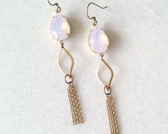 Opal Pink Earrings Tassels - Long Earrings Chains - Pale Pink Earrings - Pink and Gold - Sunset Earrings (SD1123)