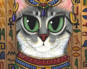 Bast Cat Art Egyptian Goddess Temple Bastet Fantasy Cat Art ACEO / ATC Mini Print Cat Lover Gift