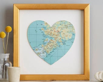 Map Location Heart Print Gold - anniversary gift - golden wedding anniversary gift - wedding gift - gift for her - gift for wife