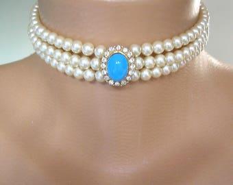Vintage Pearl Choker, Attwood & Sawyer , Bridal Pearls, Pearl Necklace, Vintage Bridal Choker, Vintage Bridal, Pearl Bridal Choker