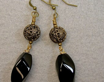 Vintage Black Onyx Faceted Bead Earrings Dangle Drop Oval ,Vintage Ornate Antiqued Brass Filigree Beads - GIFT WRAPPED