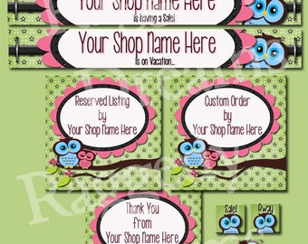 Cute Boutique Owls - Premade Etsy Shop Set Design - Etsy Shop Banner Set - SHOP ICON - Shop Profile Photo - Raggedy Dreams Etsy Banner Set