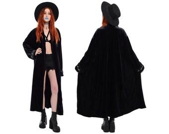 Vintage 90s Black VELVET Grunge Goth MICKEY MOUSE Long Draped Gypsy Witchy Robe Duster Maxi Dress Jacket vtg